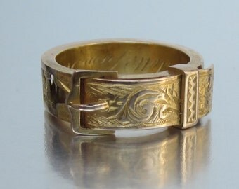 Antique Victorian (Dated 1880) MOTHER Buckle Ring 14K.