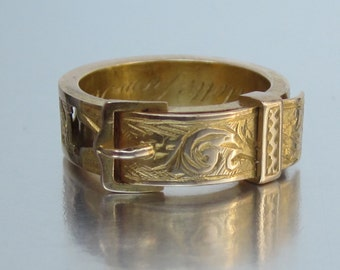 Antique Victorian (Dated 1880) MOTHER Buckle Ring 14K. Mother's Day Gift.