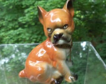 Vintage Ceramic Boxer Dog with Name Collar
