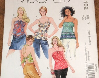 Sewing Pattern McCall's 5102 Halter Top Keyhole Top Bandana Top Womens Misses Size 4 6 8 10 12 14 Bust 29 30 31 32 34 36 Uncut Factory Folds