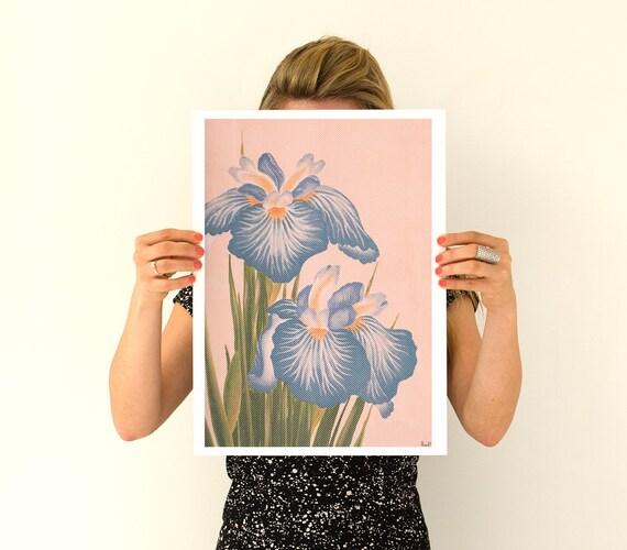 Christmas Sale Dotted Lavender Iris Poster, flowers Flower art,  Wall art poster, Spring celebration ar1t, Giclee art kitchen BFL151WA3