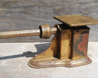 Vintage Pelouze 0-9 oz. Postal Beam Scale, with Solid Brass Beam and Poise, Primitive Decor