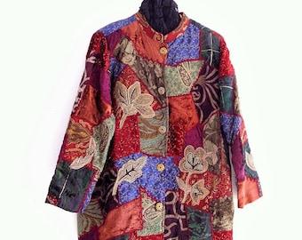 Sale Bohemian Velvet Coat. Plus Size Patchwork Jacket