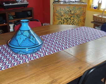 Red White & Blue Table Runner - Table Topper - Choose Fabric with Star Spangled Chevrons, Flags or Stars - Americana