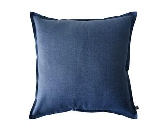 Indigo linen pillow cover, Dark blue decorative pillow, Indigo throw pillow, Indigo accent pillow, Blue linen pillow cover, Indigo pillow