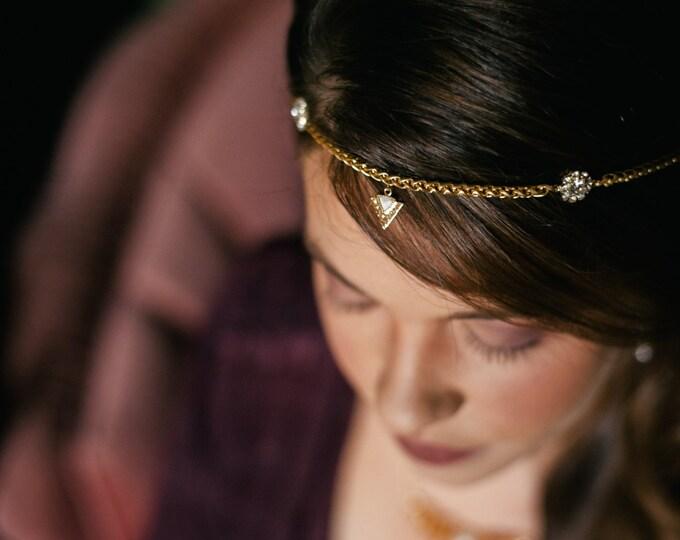 NEW Aya Headpiece - Bridal  hair chain - art nouveau circlet victorian hairpiece reign tiara renaissance pagan hair chain- to MEASURE