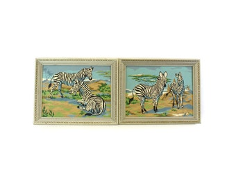 Vintage Framed Zebra Paint By Number Paintings, Set of 2 (E6558)