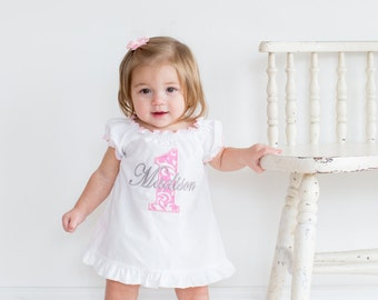 First Birthday Girl Outfit Baby Girl 1st Birthday Outfit 1st Birthday Girl Outfit Pink Damask Smash Cake Outfit Personalized Birthday Dress