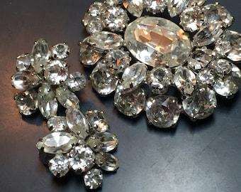 Large Sherman Rhinestone Brooch and Earrings . Sherman Brooch. Gustave Sherman Jewelry. Swarovski  jewelry NO.00425 hs