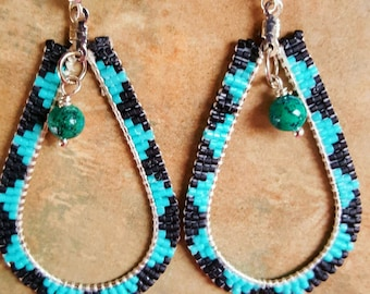 Beautiful Beaded Tear Drop Hoop Earrings With Zig Zag Design