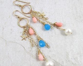 Gemstone Earrings, Gold Chain Dangle, Starfish Charm, Blue Chalcedony, Pink Coral, Pearls, Gemstones, Christmas Gift, Hawaii Beach Jewelry