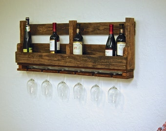"Reclaimed pallet Wine rack Caddy rustic kitchen farmhouse Furniture with wine glass holders boho primitive 10 bottle wine 40"" countryside"