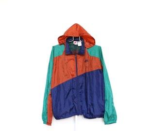 Vintage Nike Windbreaker Jacket Mens Extra Large XL / XXL 2XL Unisex Womens Green Blue Rust Brown Orange 80s 1980s Full Zip Up Hood Hooded