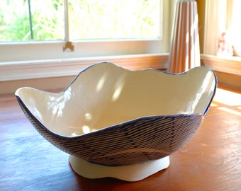 Large Blue and White Waves Serving Bowl