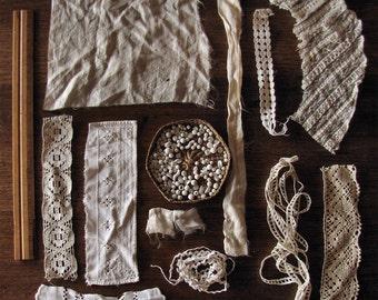 vintage fabric scrap kit - lace crochet ribbon trim and glass bead soup - antique textile art supplies