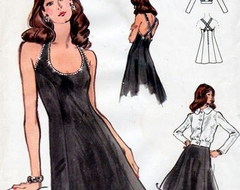 1970s Flared Cocktail Dress & Blouson Jacket Pattern Vogue 8449 Vintage Sewing Pattern Evening Dress with Crossed Straps Bust 36 FF Unused