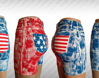 White Crop Shorts,Custom Hand Painted USA Flag Shorts,Fourth Of July Apparel,Patriotic Clothes,American Flag Clothing,USA Pants