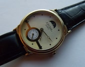 Mens Moonphase Watch Quartz Gold Tone