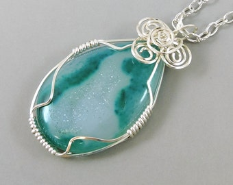 Wire Wrapped Green Agate Druzy Necklace, Agate Necklace, Gemstone Necklace, Green Jewelry, Druse, Druze