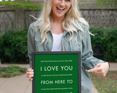 Memphis Print, Tennessee Gift, Travel Home Decor, I Love You From Here To MEMPHIS, Shown in Grass Green Travel Poster