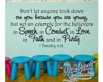 Wall decal for child room, sunday school room decal, 1 Timothy 4:12