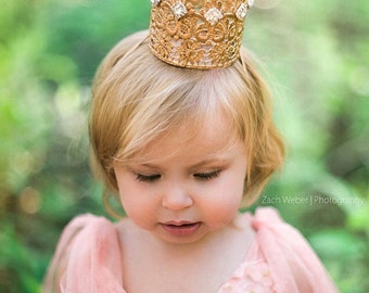 Tallulah embellished vintage rhinestone mini lace crown headband || rose gold or gold || photography prop || FIRMEST lace crowns
