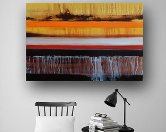 Painting on Canvas Acrylic Abstract Painting Original Abstract Painting Red Painting Yellow Painting Line Painting 36x24 Heather Day