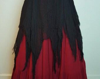 Ragged Net Over Skirt