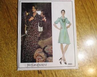"""1973 DESIGNER Yves Saint Laurent LOLITA Dress - Vogue Paris Original - Size 16 (Bust 38"""") - UNCUT Vintage Sewing Pattern Vogue 2885"""