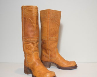 7.5 B | Women's Vintage Black Label Frye Long Horn Campus Boots in Honey Brown Leather