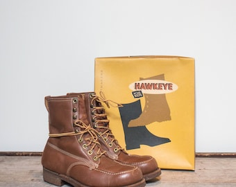9 EW | Men's Vintage Work Boots Acme Hawkeye Cork Sole Lace Up Ankle Boots