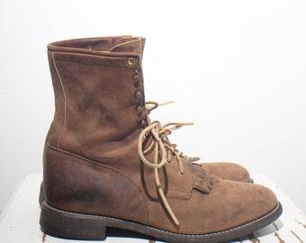 9.5 D | Men's Brown Justin Lace Up Roper Boots