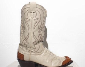 9.5 D | Men's Ostrich Wingtip Western Boots White Olathe Cowboy Boots