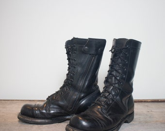 8 D | Men's Vintage Bates Combat Boots Military Gear Zipper Sides Cap Toe