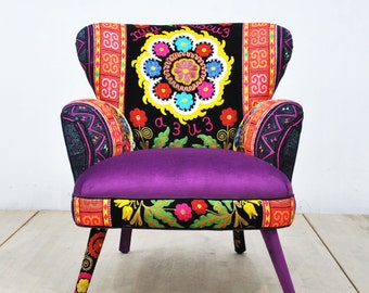 Suzani Armchair - purple love