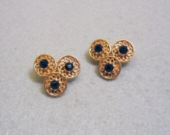 Vintage 1960s Black Rhinestone Clip On Earrings