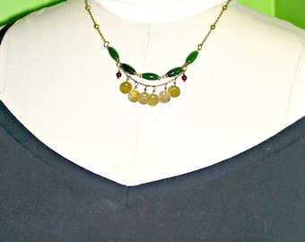 green jade necklace with brass charms and carnelian beads handmade gypsy fashion jewelry gift