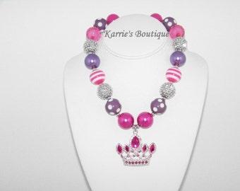 Crown Necklace / Rhinestones / Hot Pink & Purple / Princess Sofia / Chunky Beads/ Bubblegum/ Photo Prop/ Birthday / Pageant / Toddler / Girl