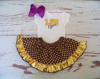 LSU 3 pc Outfit / Onesie + Skirt + Headband / Purple & Gold / Geaux Tigers / Football / Game Day / Infant / Baby / Girl / Toddler / Boutique
