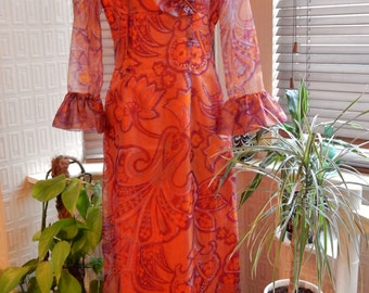 Vintage 1960s/1970s maxi dress orange red psychedelic chiffon ruffle gown by Wyndale made in England