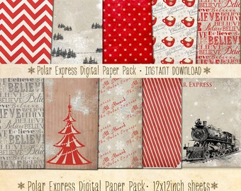 Polar Express Digital Paper Pack 12 Christmas Digital Sheets - INSTANT DOWNLOAD - Scrapbooking Card Making or Blog Backgrounds by Sassaby