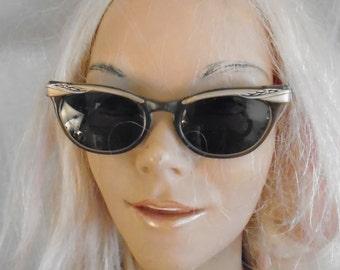 Vintage 1950's Glasses Cateye Eyeglasses Nerd Chic Eyeglasses Decorated Temples