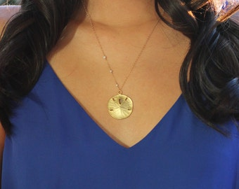 Asymmetrical Large Sand Dollar Necklace - Gold Vermeil & Freshwater Pearls - 14k Gold Fill