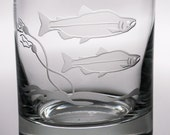 Salmon Double Old Fashion Glass, 12oz Glass, etched (Sandblasted), Original Design