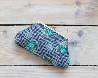 1940s Cotton floral blue wallet coin purse