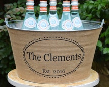 Personalized Rustic Ice Tub