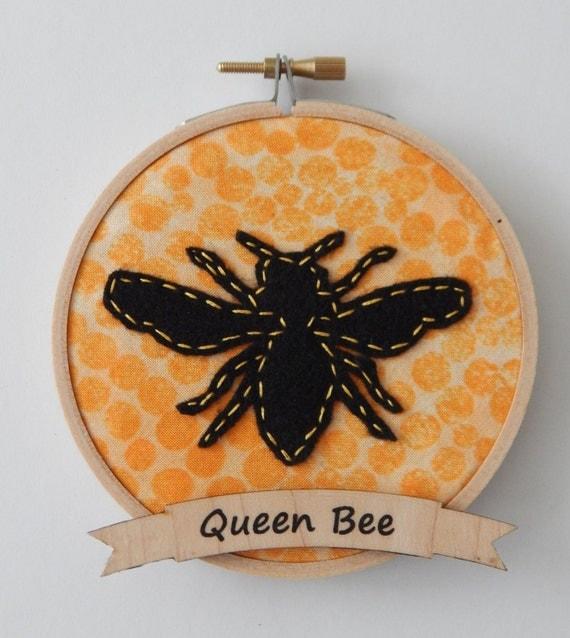 Queen bee embroidery hoop ornament
