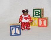 Dollhouse Doll - 1/12 Scale Miniature Toddler Girl - Black/African American - Handmade OOAK Polymer Clay - Posable - Janessa Rachel
