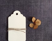 30 Medium Cream Tags, Manila Tags, Gift Tags, Party Favor Tags, Scalloped, Weddings, Showers