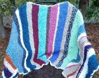 """22"""" x 70"""" Shawl- Multi Colored Shawl- Striped Shawl- Warm and Soft Shawl- Shawls and Throws- Colorful Shawls- Hand knitted Shawls- Shawls"""